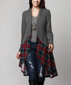 This Charcoal Plaid-Hem Drape Cardigan - Plus is perfect! #zulilyfinds