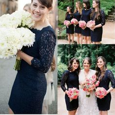 Custom Made Navy Blue Lace Bridesmaid Dresses Garden Long Sleeves Sheath Short Mini Bridemsaid Gowns Sexy Sheer Party Gowns Online with $72.8/Piece on Blissbridal's Store | DHgate.com