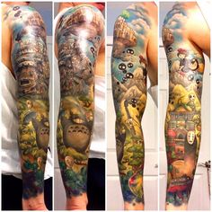 Jean-Pierre Saint-Tran from Grand Blanc, Michigan, got this awesome sleeve tattoo inspired by director Hayao Miyazaki's most iconic films from Studio Ghibli: