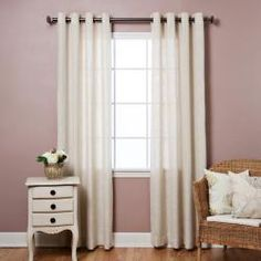 @Overstock - These sheer curtains allow natural light to flow through the room and add the look of linen without the hassle. This curtain pair has 16 antique bronze grommets and is sure to bring style and sophistication to any room.http://www.overstock.com/Home-Garden/Faux-Linen-Grommet-84-inch-Curtains/5918075/product.html?CID=214117 $47.99