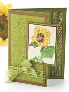 use with CTMH sunflower stamp set - front short card ~ gives me lots of ideas Fun Fold Cards, Folded Cards, Cute Cards, Fall Cards, Christmas Cards, Sunflower Cards, Embossed Cards, Pretty Cards, Sympathy Cards