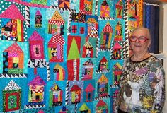 "Freddy Moran and her quilt ""Lone Tree"""