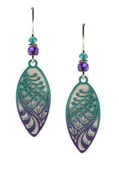3904d19ed06 Adajio by Sienna Sky Aqua Violet Ombre Filigree Almond Shape Earrings 7556  Adajio http