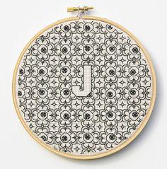 Blackwork Initial Hoop Embroidery Wall Art by InLieuOfLiaisons, $75.00