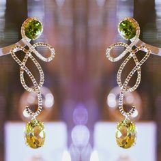Faye Earrings. Citrines, peridots, champagne diamonds @sarahhojewellery