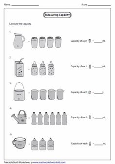 Printable measuring capacity worksheets contain estimating capacity of real life objects, reading graduated cylinder, measuring jug and Capacity Activities, Capacity Worksheets, Worksheets For Grade 3, Measurement Worksheets, Teacher Worksheets, Volume And Capacity, Singapore Math, Math Help, First Grade