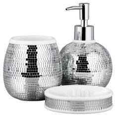 silver crackle bathroom accessories. For the bathroom  Bathroom Range Disco Ball Accessories ASDA direct