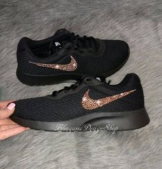 Nike Tanjun customized with Rose Gold Swarovski Crystal Rhinestones  Check out this item in my Etsy shop https://www.etsy.com/listing/572156563/swarovski-womens-black-nike-shoes-nike