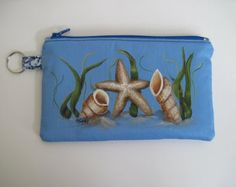 Painted  Zippered Clutch,  Seashells and Starfish, Original Artwork, 7.5 x 4.5 inches,  Fully lined with Pockets and Keyring.