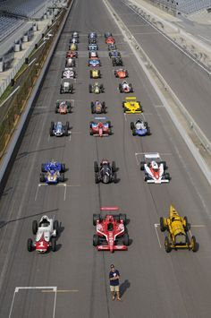 My friend & Photographer Steve Swope with 33 of the greatest Indy 500 winning cars
