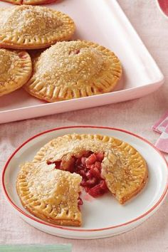Mini Strawberry-Rhubarb Pies – Full-size strawberry-rhubarb pie? Scrumptious! A recipe for Mini strawberry-rhubarb pies encased in cream-cheese dough? Both scrumptious and adorable.
