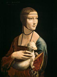 """Leonardo da Vinci """"Lady with an Ermine (Cecelia Gallerani)""""  My favorite da Vinci painting..."""