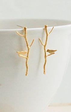 Gold BIRD on a Branch Earrings Woodland