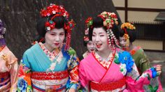 Geisha girls. Kyoto Japan.  Japanese. Traditional Dress. Smile.