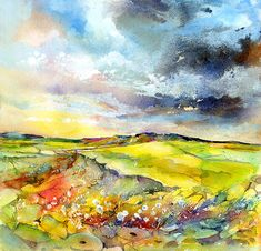 Millstones to Higgar Tor - Peak District - Watercolour  www.sheilagill.co.uk/