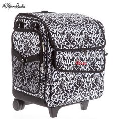 Carry All Your Scrapbooking Supplies With You In Style And Ease With This Gray Amp Pink Rolling