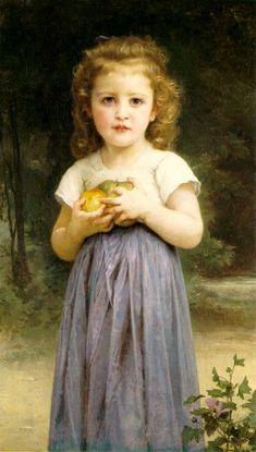 Bougeureau - Little Girl Holding Apples