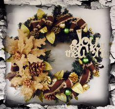 Christmas wreath in burlap poinsettias