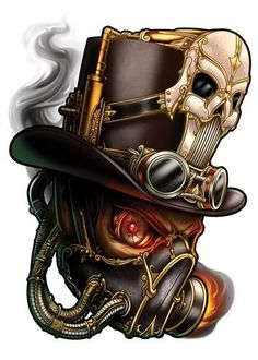 Skull - Steampunk Temporary Tattoo