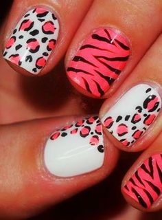 Zebra Print Nails Design,zebra-stripe nails for girls,Pink Zebra Print Nails Art for 2013 Fall/Winter #zebra #nails #christmas www.loveitsomuch.com