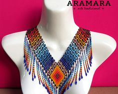 Mexican Huichol Beaded Tribal Necklace COG-0019 Mexican