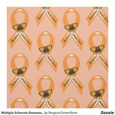 Multiple Sclerosis Awareness Ribbon with Butterfly Fabric
