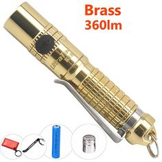 UltraTac K18 Slim Brass Flashlight Brightest 360 Lumens Rechargeable Small Keychain Light, Polished Solid Billet Brass Body Waterproof Torch with 10440 Battery, 2 Clips