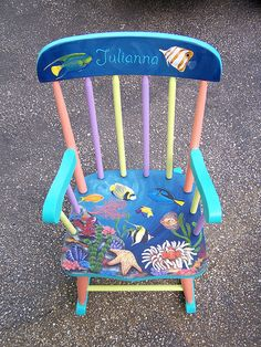 Painted Kids Chairs, Painted Rocking Chairs, Whimsical Painted Furniture, Painted Stools, Hand Painted Furniture, 2nd Hand Furniture, Diy Kids Furniture, Funky Furniture, Colorful Furniture