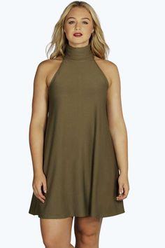 Plus Harper Turtle Neck Sleeveless Swing Dress