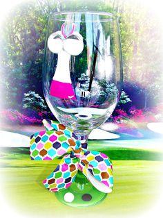 Golf Bag Wine Glass Golfer Gift Fun Unique Hand Painted Original ...