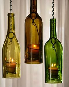 DIY Wine Bottle Candles are bottle crafts that you could make out of empty bottles you have. Easy DIY instructions on how to make your own Wine Bottle Candles, Wine Bottle Art, Bottle Lights, Wine Bottles Decor, Crafts With Wine Bottles, Wine Bottle Chimes, Lighted Wine Bottles, Beer Bottle, Glass Bottle Crafts