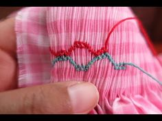 smocking stitches combining stitches to make intricate details - YouTube