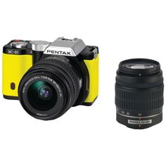 Pentax K-01 16MP APS-C CMOS Mirrorless Digital Camera with Dual Lens Kit 18-55mm, 50-200mm (Yellow) *** Check out this great product.