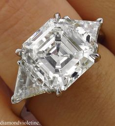 GIA 5.35ct Estate Vintage Asscher Diamond 3 Stone Engagement   Etsy Asscher Cut Diamond, Emerald Cut Diamonds, Diamond Cuts, Oval Diamond, Diamond Rings, Diamond Jewelry, Engagement Ring Shapes, Three Stone Engagement Rings, Diamond Engagement Rings