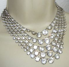 Vintage 5 Strand OPEN BACK Crystal NECKLACE clear costume jewelry BIB | eBay