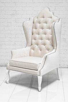 Casablanca Wing Chair In Off White Velvet