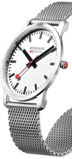 Mondaine Simply Elegant watch Modern Watches from Watchismo. Timex Watches, Men's Watches, Sport Watches, Cool Watches, Watches For Men, Dream Watches, Luxury Watches, Modern Watches, Swag Boys