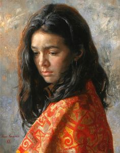 Arsen Kurbanov portrait painter oil Dagestan girl Caucasus people artist .