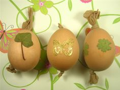 Great idea using leaves and pantyhose for dying easter eggs.