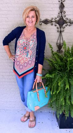 50 IS NOT OLD | HANDKERCHIEF TOP | Summer outfit | Fashion over 40 for the everyday woman | #pluder #dooney&bourke #over40