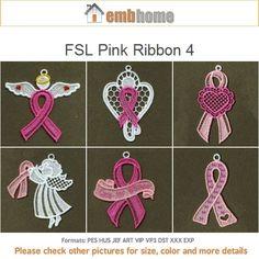 FSL Pink Ribbon Ornament Free Standing Lace Machine by embhome