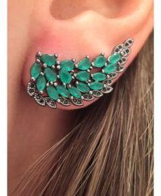 ear cuff asa com pedras verdes rodio negro