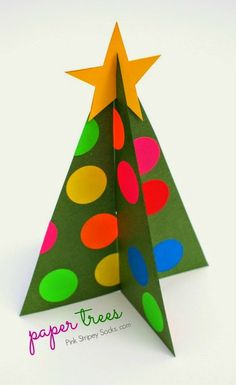 how to make paper Christmas trees with template