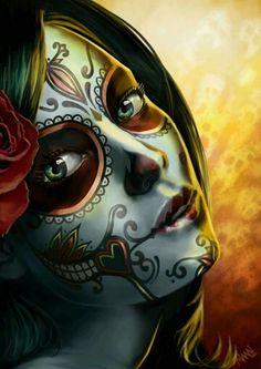 Day of the Dead Sugar Skull Girl by mystiqueink on DeviantArt Day Of The Dead Woman, Day Of The Dead Skull, Skull Girl Tattoo, Sugar Skull Tattoos, Sugar Skull Girl, Sugar Skull Makeup, Sugar Skulls, Los Muertos Tattoo, Sugar Skull Artwork
