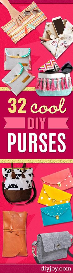 DIY Purses and Handbags - Homemade Projects to Decorate and Make Purses - Add Paint, Glitter, Buttons and Bling To Your Hand Bags and Purse With These Easy Step by Step Tutorials - Boho, Modern, and Cool Fashion Ideas for Women and Teens Cool Diy Projects, Sewing Projects, Diy Blanket Ladder, Diy Wallet, Diy Handbag, Crafts To Make And Sell, Sell Diy, How To Make, Couture