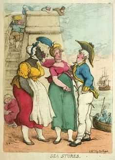 """This Rowlandson engraving shows a naval officer negotiating with prostitutes on the waterfront. Many women were forced into prostitution by poverty. Others were young women who decided that they would rather sell their bodies than work 16 hours a day as laundresses or seamstresses."