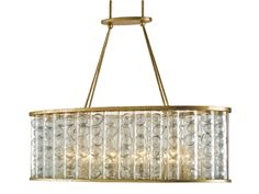 "Currey and Company Frinton Rectangular Chandelier, 9313, With a unique elongated oval shape and finished in gleaming Dutch Gold, the Frinton Rectangular Chandelier boasts of charisma and grace. 40"" W D ""17  H. 29"""