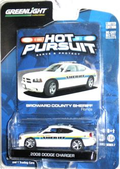 '08 Dodge Charger Sheriff Broward County Florida Greenlight Hot Pursuit 1:64 Sc