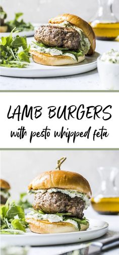 These lamb burgers can be made on the grill or over the stovetop and are topped with the most delicious pesto whipped feta. Theyre loaded with flavor and easy to makea must-try! Grilled Burger Recipes, Whipped Feta, Burger Toppings, Lamb Burgers, Cooking Recipes, Healthy Recipes, Healthy Food, Lamb Meatballs, Ground Lamb