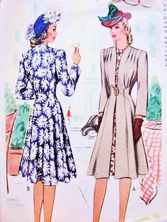 1940s Stunning War Time WW II REDINGOTE COAT McCall 4625 Beautiful Flattering Coat Bust 30 Vintage Sewing Pattern FACTORY FOLDED